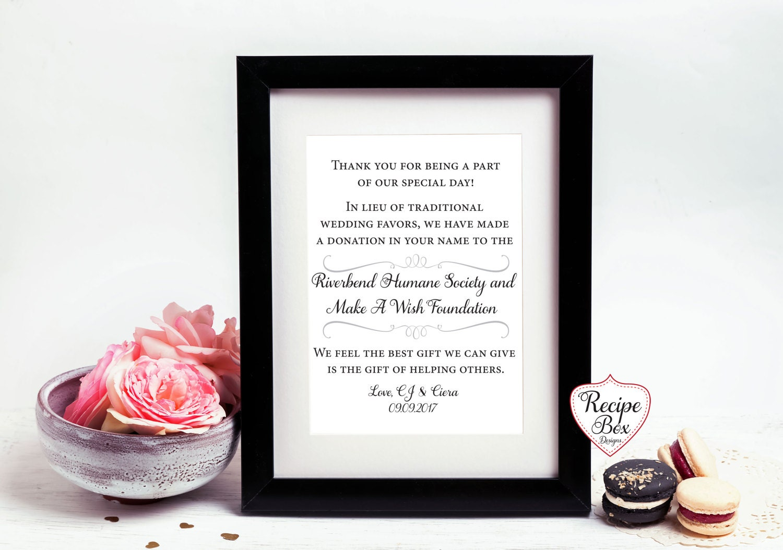 Wedding Donation Sign, In Lieu of Wedding Favors, Wedding Signs ...
