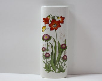Vintage Takahashi Floral Wall Pocket, Wall Vase, Botanical Flowers, Wall Decor, Red, Purple, Butterfly