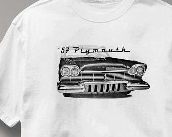 Plymouth 1957 Classic Car Auto T Shirt Tee Shirt Mens Womens Ladies Youth Kids