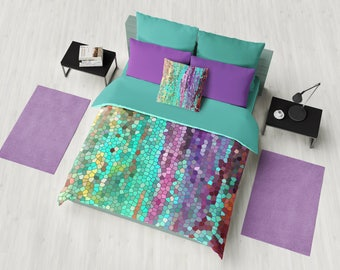 Beautiful Duvet Cover - Abstract teal and purple design, mosaic,  bedroom linens, bright,  jewel tone, vibrant modern decor