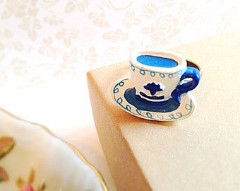 Miniature Teacup Adjustable Ring. Tea Party. White. Blue. Whimsical. Gifts for Her. Unique Ring. Brass. 5 Dollars.