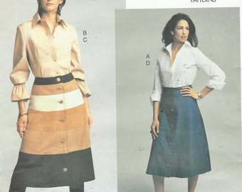 NY NY the Collection Womens Button Front Shirts and Button Front Skirts Vogue Sewing Pattern 2733 Size 12 14 16 Bust 34 36 38 FF