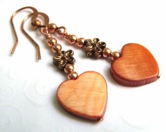 Dangling Heart Earrings, Copper Earrings with Mother of Pearl Hearts, Heart Jewelry, Heart Dangle Earrings, Drop Earrings, Everyday Jewelry