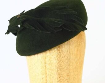 Loden Forest Green Velour Fur Felt Structured Asymmetrical Beret Cloche Winter Cap Hat,Felt feather, brass detail Millinery/Kate Middleton