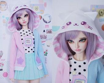 Slim MSD Minifee or SD BJD hoodie shirt skirt set - Neko Tamagotchi