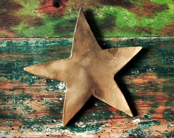 Rustic Pit Fired Star Wall Hanging - Rustic Home or Cottage/Cabin Decor - Earthy Clay Star