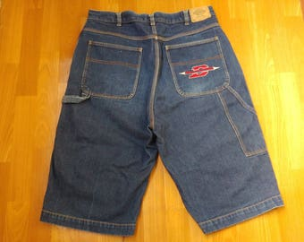 Dickies shorts, carpenter baggy jeans denim shorts of 90s hip-hop clothing old-school, vintage, OG size W 36