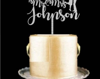 Silver Wedding Cake Topper - Custom Wedding Cake Topper with Mr and Mrs Personalized Last Name Cake Topper Available in Gold, Glitter Colors