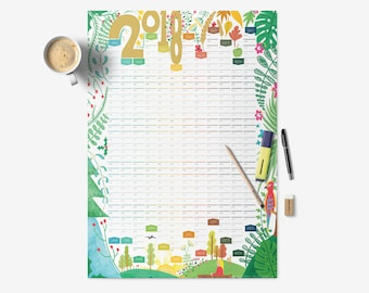 2018 Wall Planner, A2 Planner, Floral Wall Planner, Large Wall Calendar, Modern Wall Planner,  Yearly Calendars, Wall Planner, Year Planner