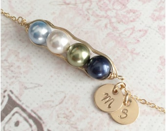 Personalized 4 Peas in a Pod Bracelet - Hand Stamped Initial Bracelet - Mom Bracelet - Wire Wrapped Gold Bracelet - Two Discs - Two Initials