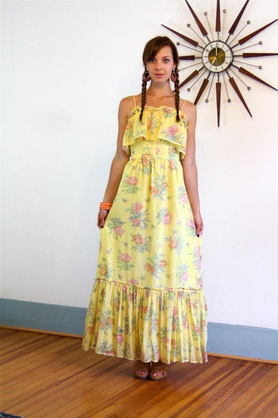 Boho Maxi dress, Vintage 70s Dress, Hippie maxi dress, Tiered Ruffles,Cotton Floral dress,Long Gypsy dress,Yellow Prairie Dress, 1970s dress