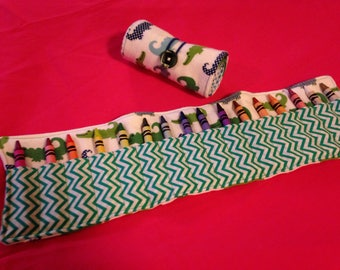 Crayon Roll Up Holder Case Alligators Handmade Holds 16 Crayons