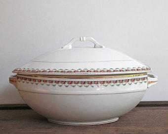 Antique Ironstone Tureen - Bowl With Lid - Earthenware Ironstone - 1920s - Terre de fer - Art Deco