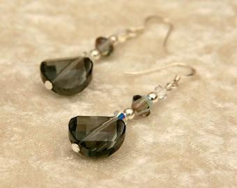 Black Twist Crystal Earrings