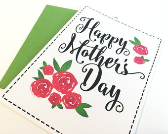 Mother's Day Card - Happy Mother's Day Card - Mother's Day Gift Card - Rose Mother's Day Card - Watercolor Greeting Card For Mom - Red Roses