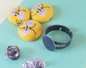 Bumble Bee Button Earrings/Mix and Match 4 Rings and/or Lapel Pins/Fabric Buttons/Tie Pin/ Push Pin