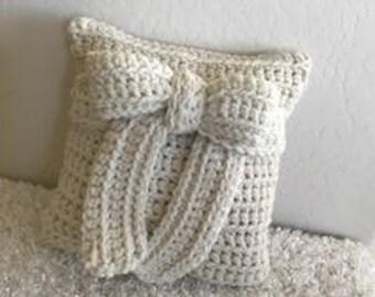 "Home Decor White Bow Accent/Throw Wool Blend Crochet Pillow 12"" x 12"""