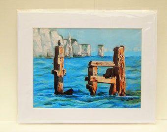 """Signed seascape print  """"Solitude"""" cormorant on the old pier Swanage, Old Harry Rocks, Dorset"""