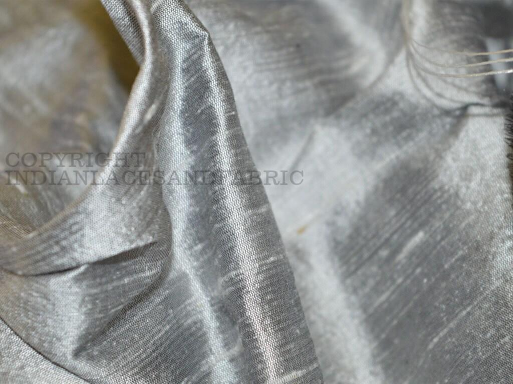Pure dupioni silk raw silk fabric yardage in silver grey zoom ombrellifo Choice Image