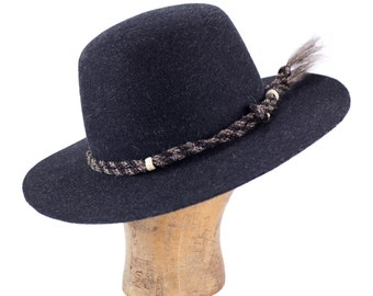 grey heathered fur felt open crown hat with twisted horsehair hatband