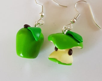 Green Apple and its core nature earrings in handmade fimo