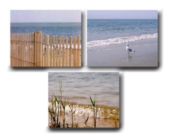 Beach canvas art, bathroom canvas, beach wall art set of 3 canvas, nautical wall decor, coastal gallery wall set, gold tan blue home decor