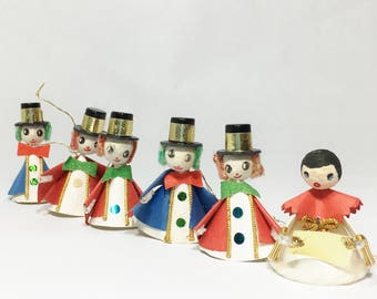 Vintage Spun Cotton Angel and Snowmen Ornaments, Christmas Holiday Ornaments Decorations, Set of Six,  Made in Japan