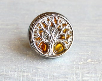 yellow tree of life tie tack, mens gift, mens jewelry, groomsmen gift, wedding jewelry, father of the bride, anniversary gift, lapel pin