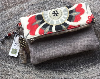 Fold Over Floral Clutch