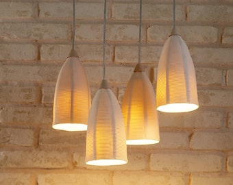 4 hanging lights. Modern ceiling chandelier. Ceramic lighting. Unique pendant light. Cluster pendant lights. Contemporary chandelier.