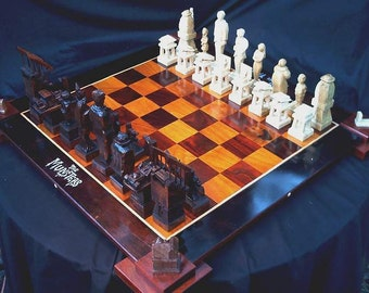 Addams family versus The Munsters Chess Set by custom chess set artist Jim Arnold