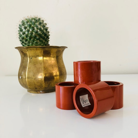 Vintage Burnt Orange Vera Neumann Napkin Rings Set of (4) Brown Mid Century Modern Mod Dinner Decor Made in Japan