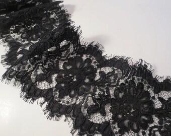 "Black Floral Pattern French Alencon Lace Trim 5"" wide--One Yard"