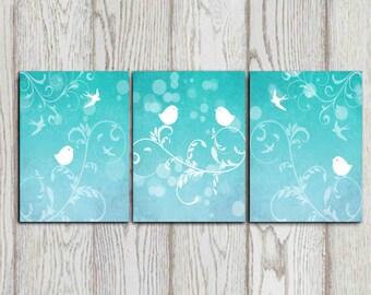 Attractive Set Of 3 Bird Art Prints Turquoise Wall Decor Bedroom Decor Aqua Wall Art  Nursery Birds