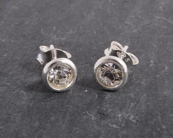 Sterling silver swarovski crystal birthstone earstuds earrings ~ clear crystal ~ April birthday