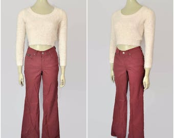 Vintage 90s Dark Red High Waist Pants Wide Leg Stretch Bell Bottom 26W Small High Rise Jeans Nylon Club-Kid Cyber