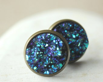 Druzy Earrings STUDS or CLIPS Blue Druzy Earrings fake druzy Posts Druzy Jewelry Moon Rock Minimalist blue geode Faux druzy studs  E323