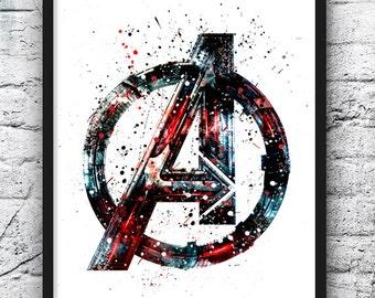 Avengers Watercolor Print, Avengers Logo, Superhero Posters, Marvel Print, Art, Wall Art, Home Decor, Kids Room Decor, Home & Living - 318