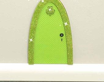 St. Patrick's Day Fairy Door & Shamrock, Hanging Door Sign, Whimsical Gift, Fairy Door, Miniature Garden or Fairy Garden