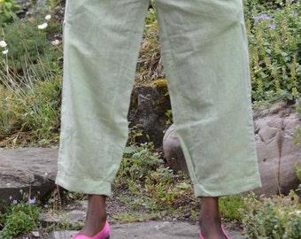 Womens Linen  Boho Travel Ankle Length  Pants.