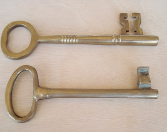 """Two Large Brass Keys 6 1/8"""" and 5 3/8"""""""