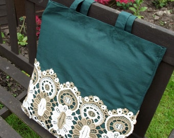 Vintage Lace covered Tote Bag - useful reusable shopping bag - Pinenut - bottle green and cream