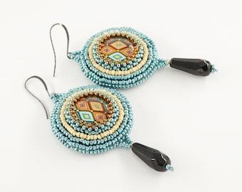 bead embroidery, beaded earrings, dangle drop earrings, summer, summer earrings, vintage, boho, green earrings, fashion jewelry, handcrafted