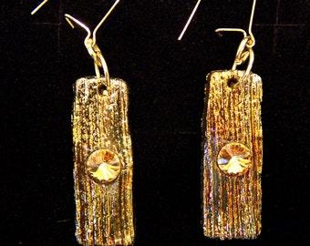 Raku ceramic earrings and Swarovski