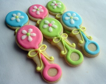 BABY RATTLE COOKIES, 12 Decorated Sugar Cookie Party Favors