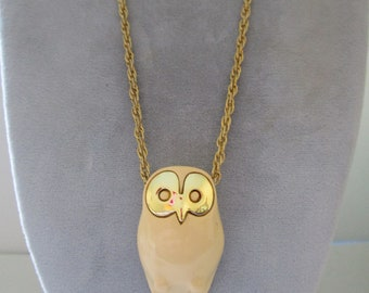 Owl Necklace with Gold Eyes