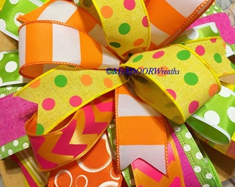 Summer Wired Ribbon Bow, Summer Wreath Bow, Gift Bow, Summer Beach Bow, Summer Tree Topper Bow, Beach Bow, Lantern Bow