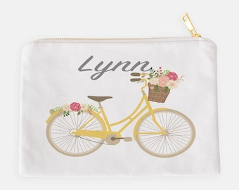 Personalized Pouch, Pencil Case, Makeup Bag, Cosmetic Pouch, Custom Pencil Case, Summer Pouch, Kids Pencil Pouch, Bicycle Pouch, Bike Pouch