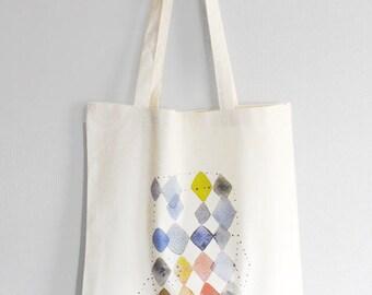 Geometric rhombus tote bag, Abstract art bag, Geometric print bag, Watercolor shopping bag, Multicolor geometric, Illustrated cotton bag