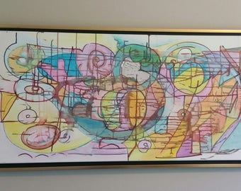 """New World Order Original Acrylic Painting Framed 20"""" by 38"""""""